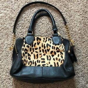Audrey Brooke Leopard Print Leather Handbag